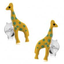 Bedugós fülbevaló, 925 ezüst, sárga fénymázas zsiráf zöld pontokkal
