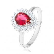 925 ezüst gyűrű, piros cirkóniás könnycsepp, átlátszó, csillogó szegéllyel