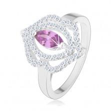 Gyűrű, 925 ezüst, cirkóniás búzaszem - tanzanit árnyalatban, dupla körvonallal