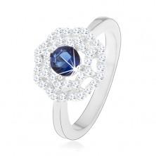 925 ródium ezüst gyűrű, nap - kék, kerek cirkónia, kettős átlátszó szegéllyel