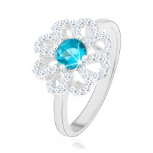 Csillogó gyűrű, 925 ezüst, cirkóniás virág - átlátszó szirmokkal és világoskék középpel