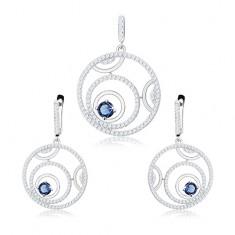 925 ezüst szett - medál és fülbevaló, körvonal, kerek kék cirkónia