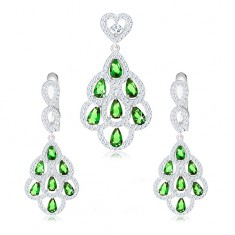 925 ezüst szett, medál és fülbevaló, zöld cirkóniás cseppek, átlátszó körvonal
