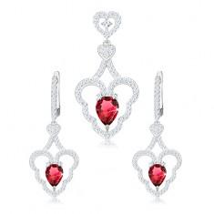 Szett medálból és fülbevalóból, 925 ezüst, hullámos szívkörvonal, rózsaszín csepp