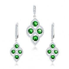 925 ezüst szett, medál és fülbevaló, kerekített rombusz, zöld cirkóniák