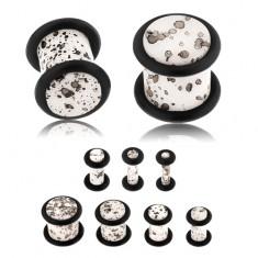 Akril fülplug, fehér színű felszín fekete foltokkal