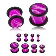 Akril plug, lila szín, márványminta, fekete gumik
