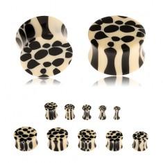 Nyerges fültágító akrilból, bézs-fekete leopárd minta