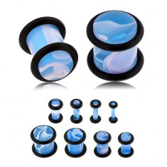 Akril plug, világoskék szín, márványminta, fekete gumik