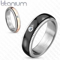 Titán karikagyűrű, ezüst szín, fekete cirkóniás sáv, recék, 6 mm