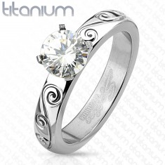 Titán gyűrű ezüst színben, kerek átlátszó cirkónia, díszített szárak