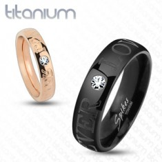 Fekete karikagyűrű titánból, csillogó átlátszó cirkóniák, FOREVER LOVE felirat, 6 mm