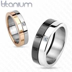 Titán karikagyűrű, fekete és ezüst szín, római számok, cirkóniák, 7 mm