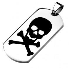 Acél tábla ezüst színben, fekete fénymázas koponya, keresztezett csontok
