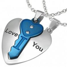 Acél kettős medál, szív ezüst színben kék kulccsal, felirat, cirkóniák