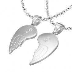 Kettősmedál 316L acélból, angyal szárnyak, Ő és Ő szimbólum, átlátszó cirkóniák