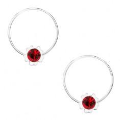 Kerek fülbevaló, 925 ezüst, piros virág, Swarovski krostály