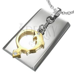 Medál acélból - ezüst téglalap, arany delfin, férfi szimbólum