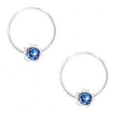 925 ezüst fülbevaló, kék kerek Swarovski kristály, virág