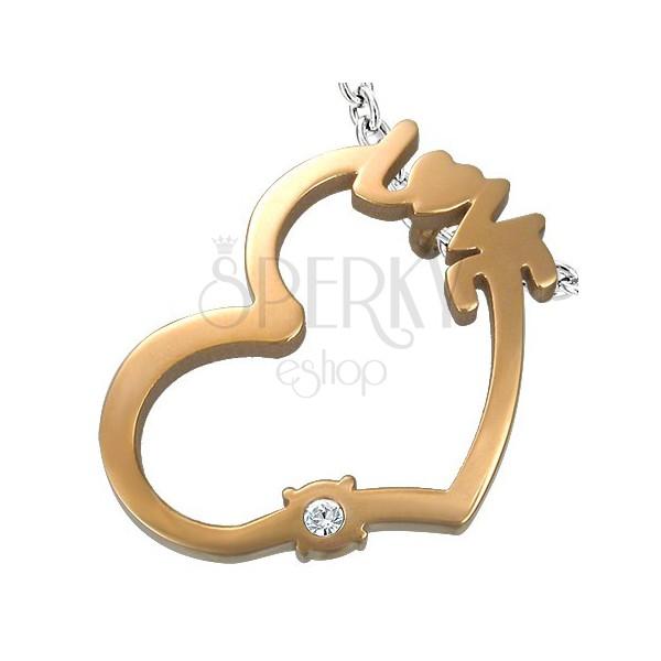 Bronz szív medál - LOVE felirat és tiszta cirkónia