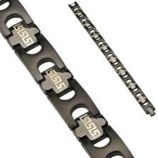 Sebészeti acél karkötő IP Tribal Link - fekete