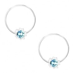 Kerek fülbevaló, 92 ezüst, világoskék Swarovski kristály, virág