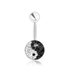 Piercing sebészeti acélból, ezüst szín, csillogó Jin és Jang szimbólum, cirkóniák