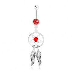 Acél köldökpiercing, álomfogó pentagrammal, tollak és piros cirkóniák