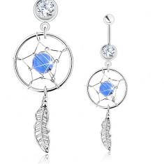 Köldökpiercing, sebészeti acél, álomfogó, toll, átlátszó cirkónia és kék gyöngy
