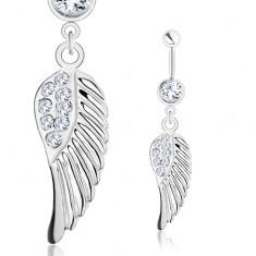 Piercing 316L acélból, ezüst szín, angyal szárny, átlátszó cirkóniák