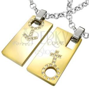 Forever Love acél medál - férfi és női szimbólumok