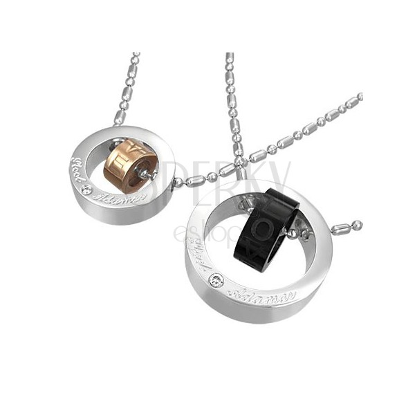 Két medál acélból, pároknak - két szerelem gyűrű