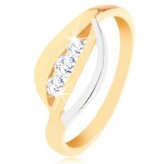 375 arany gyűrű - kétszínű hullámos vonal, három kerek átlátszó cirkónia