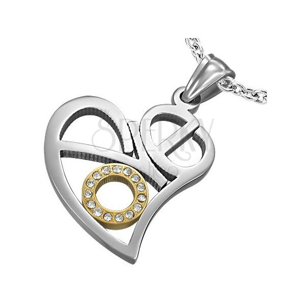 Minőségi acél medál - szív Love betűkből, tiszta cirkóniák