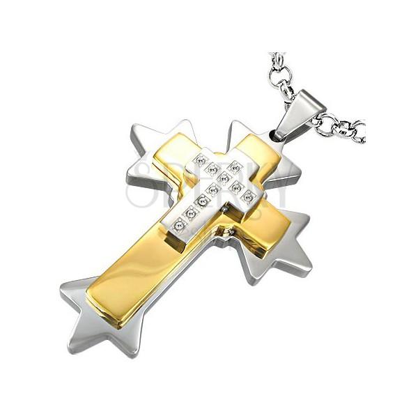 Acél medál - háromrétegű kereszt