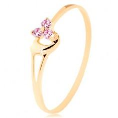 Gyűrű 14K sárga aranyból - három rózsaszín cirkónia, aszimmetrikus domború szív