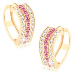 Kerek fülbevaló 14K sárga aranyból - hullámos vonal átlátszó és rózsaszín cirkóniákból