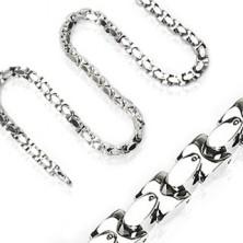 Sebészeti acél lánc, fényes ferdén összekapcsolt H-elemek, ezüst szín