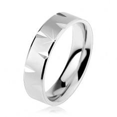 925 ezüst karikagyűrű matt felület, fényes szélekkel és vésetekkel
