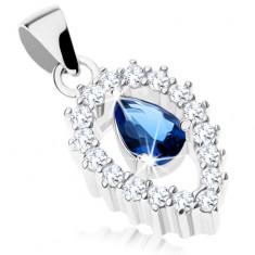 925 ezüst medál, fordított könnycsepp körvonal, kék cirkónia