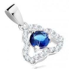 925 ezüst medál, átlátszó szabálytalan háromszög körvonal, kék cirkónia