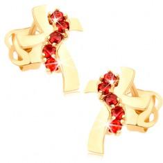 Fülbevaló 14K sárga aranyból - kereszt hullámos szárakkal, piros cirkóniák