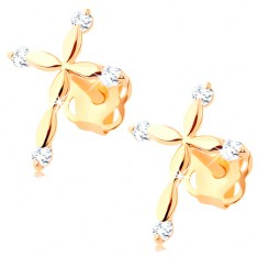 585 arany fülbevaló - latin kereszt összekapcsolt szemekből, apró átlátszó cirkóniák