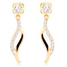 14K sárga arany fülbevaló - kerek cirkónia, fénylő cirkóniás hullám
