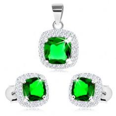 925 ezüst szett medálból és fülbevalóból, zöld négyzetes cirkónia, átlátszó szegély