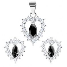 925 ezüst szett - medál és fülbevaló, átlátszó szívkörvonal és fekete szem cirkónia