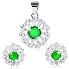 Medál és fülbevaló szett, 925 ezüst, átlátszó cirkóniás szirmok és zöld közép
