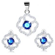 925 ezüst fülbevaló és medál szett, kék és átlátszó csillogó virág
