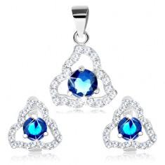 Medál és fülbevaló szett, 925 ezüst, kék cirkónia háromszög körvonalban