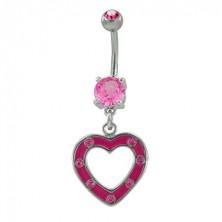 Köldök piercing - cirkóniaköves szívecske, rózsaszín